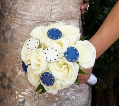 Poker Chip bouquet Inserts for a Poker themed bridal bouquet