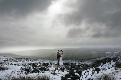 Bride and Groom eloping in the snow